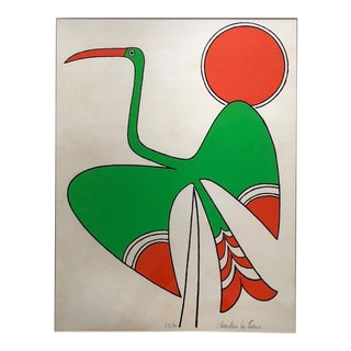 Vintage Abstract Mid-Century Modern Bird Serigraph Print by Charles Le Bars For Sale