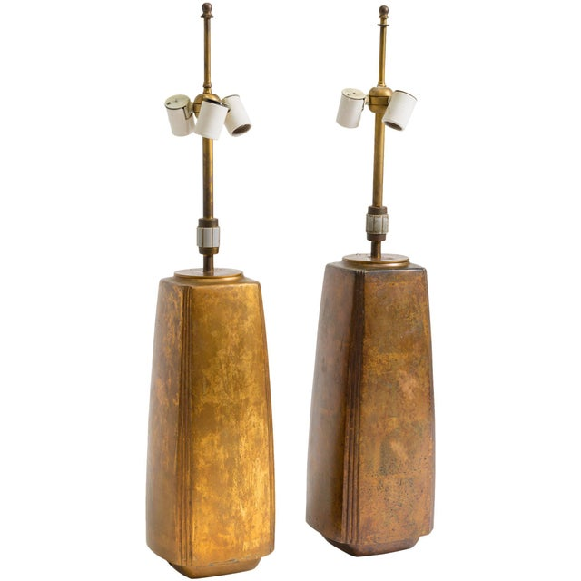 Pair of Bronze Tapered Column Table Lamps by Hansen For Sale - Image 9 of 9