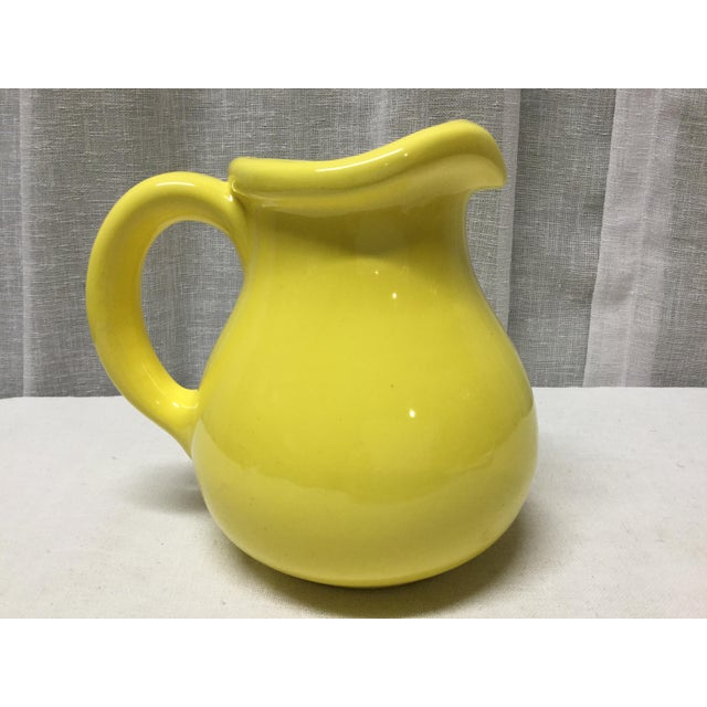 1950s Classic 1950s Yellow Pottery Pitcher For Sale - Image 5 of 5
