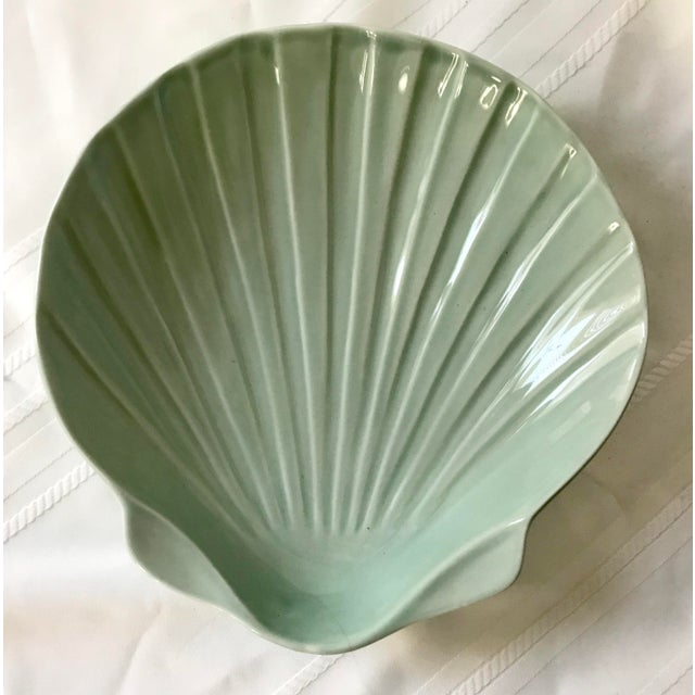 Lovely Vintage medium size sage green shell by A. Santos from Portugal. Great size for many uses! Little Vintage wear.