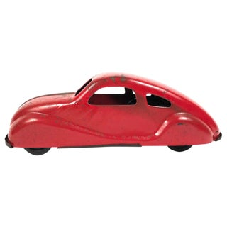 1930s Red Pressed Tin Toy Car For Sale