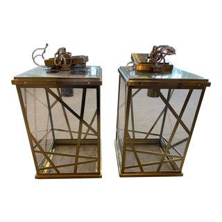 Modern Michael Berman Brass Bond Pendants - A Pair For Sale