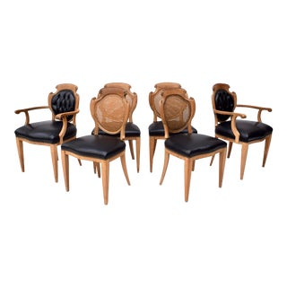 English Regency Leather & Caned Back Dining Chairs For Sale