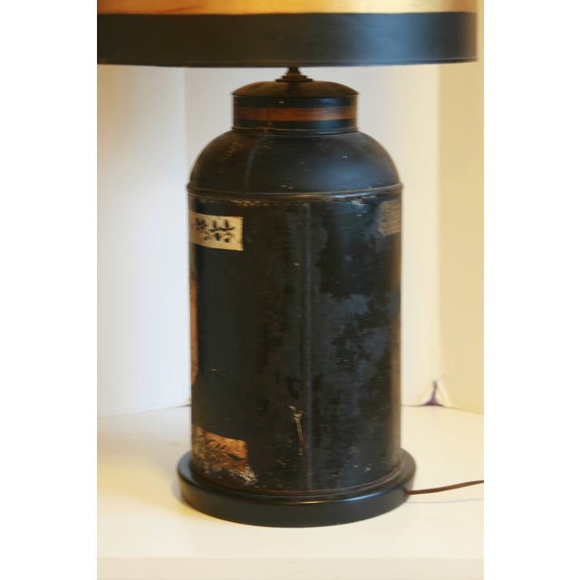 Late 19th Century Antique Chinoiserie Metal Tea Canister Lamps - A Pair For Sale - Image 4 of 13