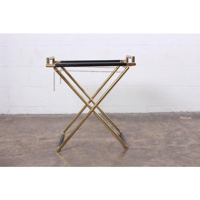 Modern Italian Folding Tray Table in Brass For Sale - Image 3 of 9