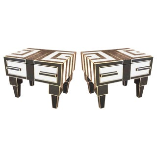 Pair of Mirrored & Brass Nightstands With One-Drawer in Black & White For Sale