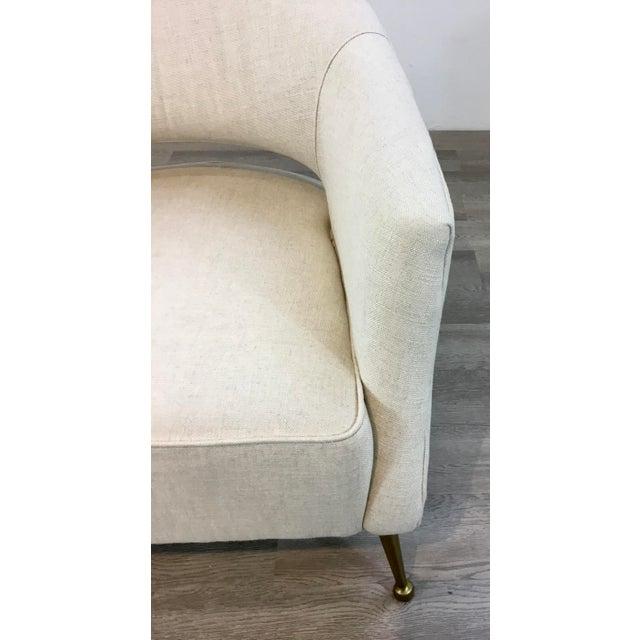 Regina Andrew Modern White Linen Mimi Lounge Chairs Pair