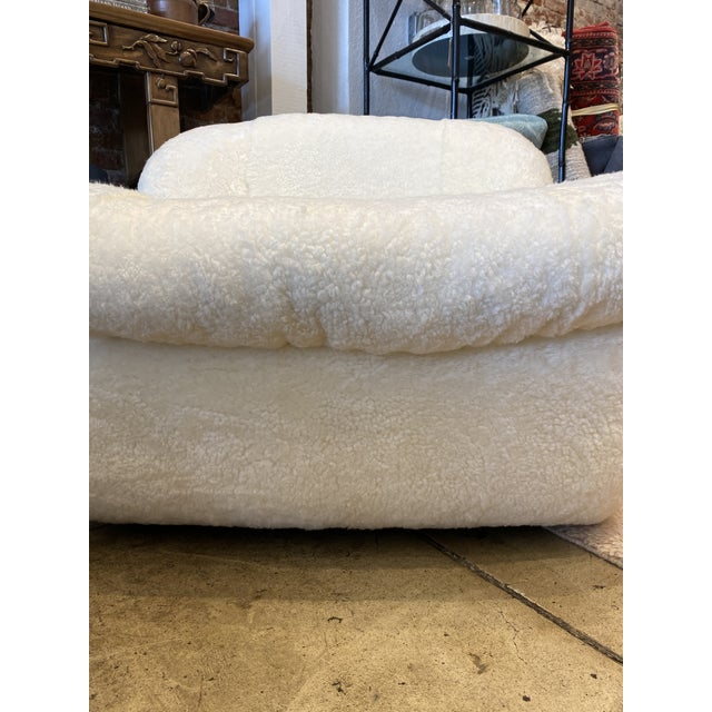1970's Reupholstered Curly Shearling Swivel Chair - 2 Available For Sale - Image 10 of 11