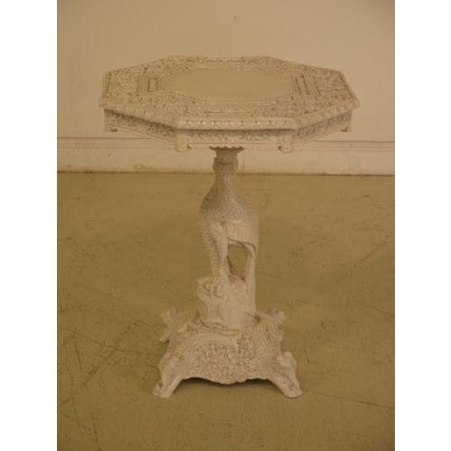 1950s Chinese Highly Carved Detailed White Painted Occasional Table For Sale - Image 9 of 9