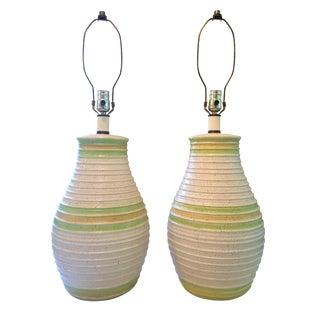 Mid Century Retro Ceramic Table Lamps - a Pair