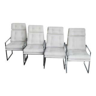 Set of Four 1970s Chrome High Back Dining Chairs For Sale