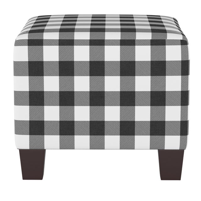 Square Ottoman in Classic Black Gingham For Sale
