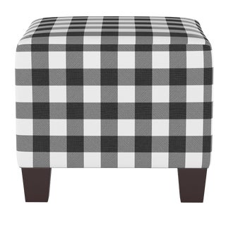 Square Ottoman in Classic Gingham Black Oga For Sale
