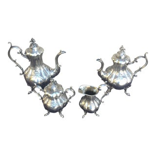 Vintage Mid Century Silver Plate at Reed & Barton Pumpkin Top Tea Set - Set of 4 For Sale