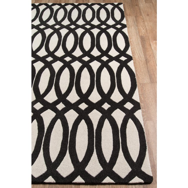 """Contemporary Contemporary Momeni Delhi Hand Tufted Black Wool Runner - 2'3"""" X 8' For Sale - Image 3 of 7"""