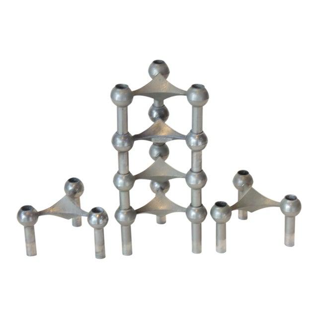 Set of Six Nagel Modular Candlesticks in Nickel - Image 1 of 9