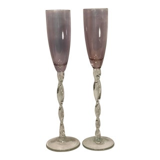 Purple Italian Empoli Twisted Stem Champagne Glasses - a Pair For Sale