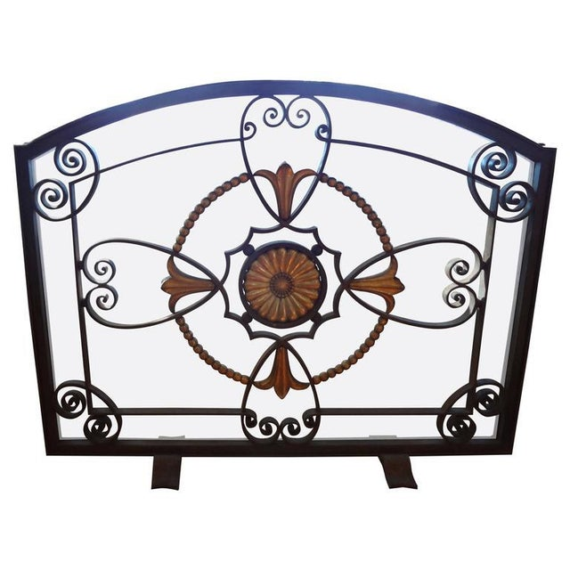 French Art Deco Wrought Iron Fireplace Screen by Szabo For Sale - Image 9 of 9
