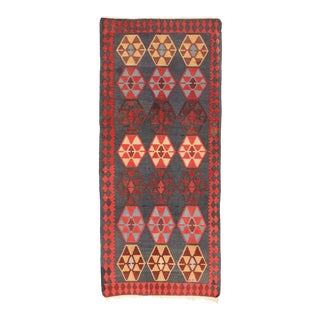 Vintage Persian Shiraz Kilim Rug, Wide Flat-Weave Runner - 04'06 X 10'06 For Sale