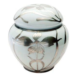 Early 20th Century Austrian Sterling Overlay Ginger Jar For Sale