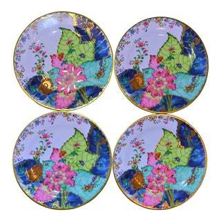 Enamaled Tin Tobacco Leaf Plates - Set of 4