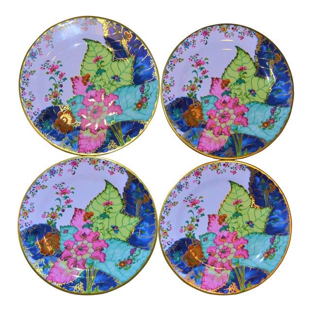 Enamaled Tin Tobacco Leaf Plates - Set of 4 For Sale