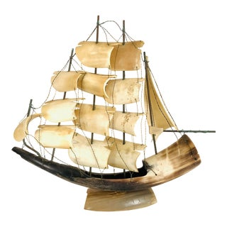 1940s Vintage Italian Horn Model Clipper Ship For Sale