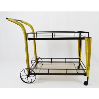 Smoked Glass Faux Wicker and Metal Beverage Tea Cart Preview