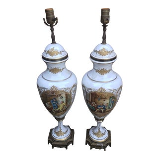 Early 20th Century French Porcelain Serves Urn Converted to Lamps - a Pair For Sale