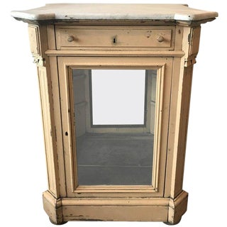 19th Century French Marble Topped Glass Cabinet For Sale