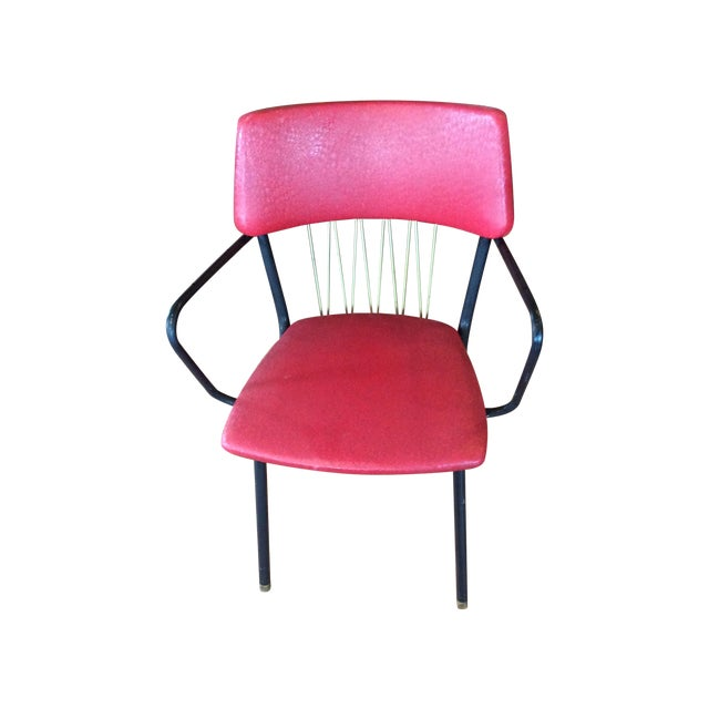 Mid-Century Red Vinyl Dining Chair - Image 1 of 8