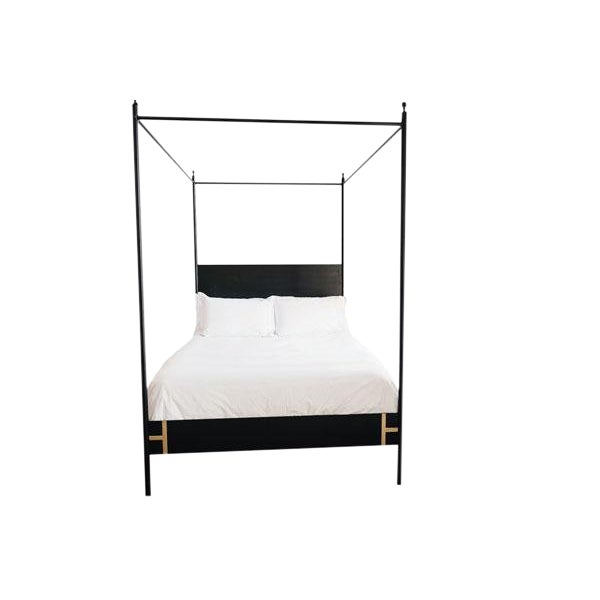 The Josephine Bed: four poster queen sized black metal canopy bed is a refreshing modern update on a classic French canopy...