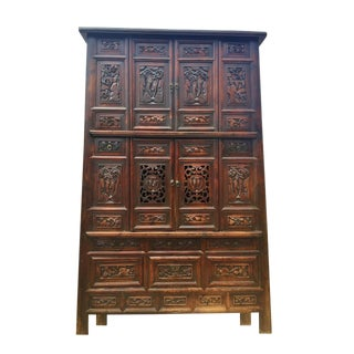 Monumental Carved Wood Cabinet For Sale
