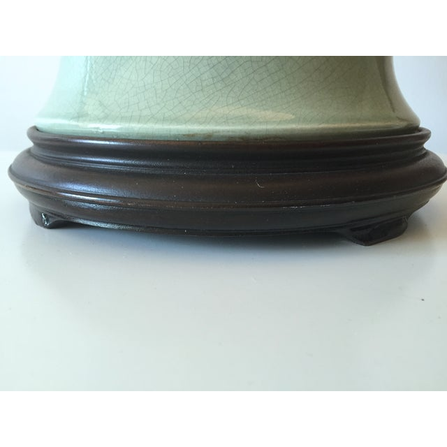 "Vintage Celadon Ginger Jar Lamp-Wood Base-33"" For Sale In New York - Image 6 of 7"