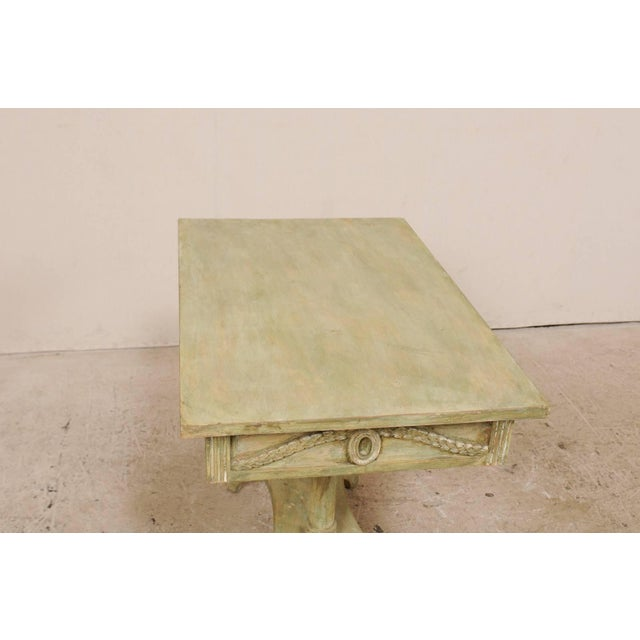Wood Swedish 19th Century Neoclassical Painted and Carved Wood Lindome Style Table For Sale - Image 7 of 10