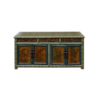 Chinese Distressed Green Floral Graphic Low Console Table Cabinet For Sale