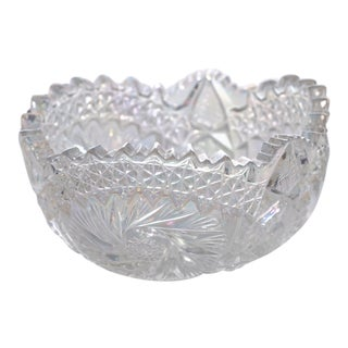 "ABPG American Cut Glass 7.5 "" Iridescent Bowl / Candy Dish For Sale"