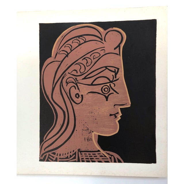 """Picasso; Linoleum cut on paper titled """"Female Head in Profile,"""" designed by renowned Spanish artist Pablo Picasso (1881 –..."""