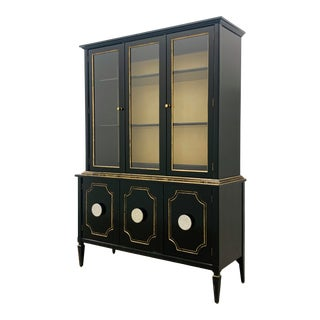 1950s Petite China Cabinet Reimagined in Black and Gold by Reitter Design Studio For Sale