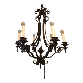 Vintage 1950s Iron 6 Branch Chandelier For Sale