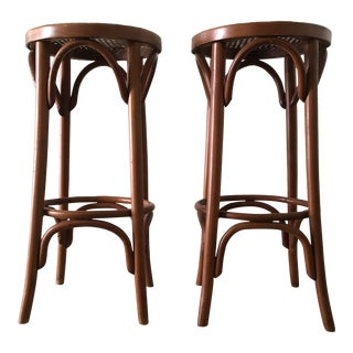 1960s Vintage Cane Seat Bar Stools- a Pair For Sale