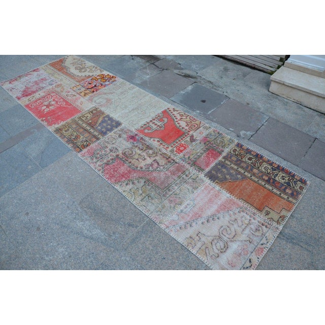Islamic Turkish Hanmade Patchwork Runner Carpet - 2′11″ × 9′3″ For Sale - Image 3 of 6