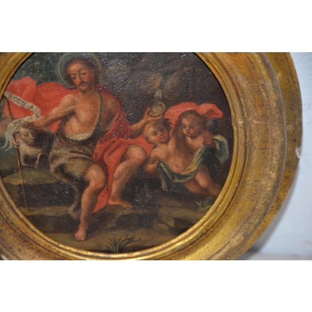 Italian School 17th C. Circular Painting of John the Baptist Embracing the Angus Dei W/ Two Angels For Sale In San Francisco - Image 6 of 8