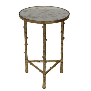 Glostrup Metal Side End Table With Mirror Top, Accent Home Furniture, Living Room, Bedroom, Contemporary- Gold Leafing For Sale