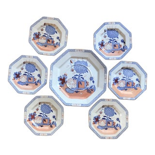 Late 19th Century Masons Ironstone Jardiniere Hexagon Imari Dessert Plates and Platter - Set of 7 For Sale