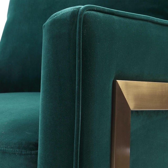 Emerald Green Plush Velvet Accent Chair For Sale - Image 4 of 6