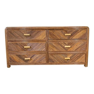 Mid Century Split Reed Rattan Dresser For Sale