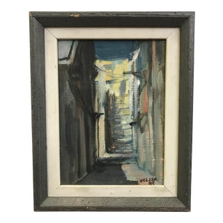 Vintage Alley Painting For Sale