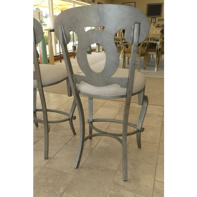 1990s Modern Biedermeier Style Metal Counter Stools - Set of 3 For Sale In Miami - Image 6 of 13