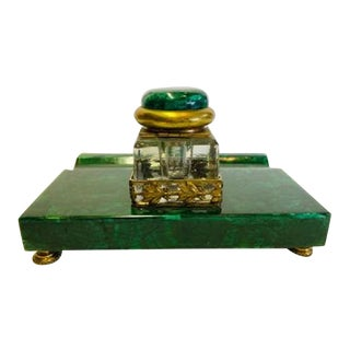 Malachite Ink Stand With Ink Bottle and Gilt Bronze Mounts For Sale